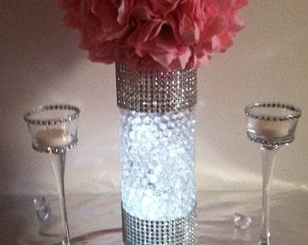 12 Kissing Ball Centerpiece Sets, Bling Rhinestone Centerpiece, Wedding Centerpieces. Flower Balls, Rhinestone Vase, Tea Light Holders Sets