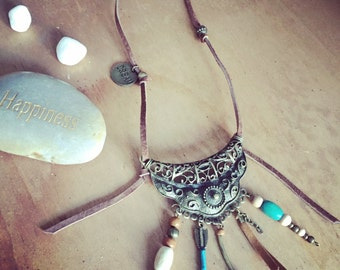 Boho brown pearl leather necklace with ornament, Hippie, Gypsy