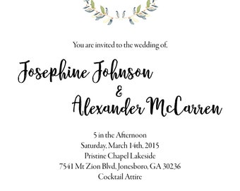 Chirping Birds Watercolor Rustic Wedding Invitation Front and Back Design