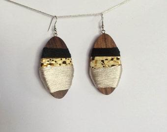 Printed fabric and wood dangle earrings