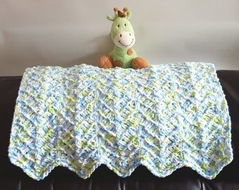 Hand Knit Baby Blanket, Soft, Baby Afghan, Chunky Knit, Baby Boy, Baby Girl, Gender Neutral