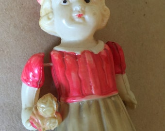 Celluloid Flower Girl Doll 1950s Made in Occupied Japan