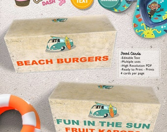 INSTANT DOWNLOAD - EDITABLE Vintage Surf Birthday food cards - Summer Surf Party decorations Surf tent card