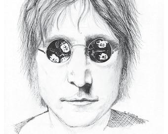 John Lennon –  In Reflection-pen and ink