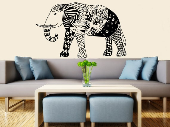 Indian elephant wall decal stickers yoga wall decal indie for Indie home decor