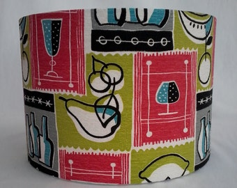 Handmade Drum Lampshade, Original Vintage Mid Century Barkcloth, fruit,wine bottle and glasses print, 30 cm diameter