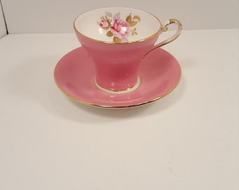 Pink Aynsley teacup; made in England; fine bone china; corset teacup; floral cup; coffee cup