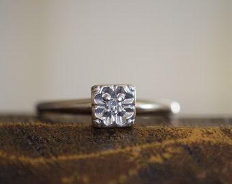 Vintage 0.05ct Diamond Engagement Ring, 14K White Gold, Size 7.75, Used