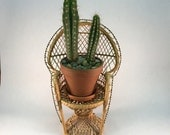 Vintage rattan peacock chair planter