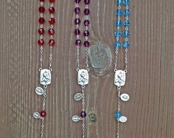 Swarovski Crystal Birthstone Auto Rosaries w/ St. Christopher Center