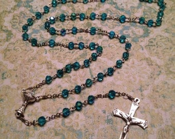 6mm AB Aqua Glass Rosary