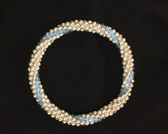 Sterling Silver bead bracelet with aqua Swarovski accent line