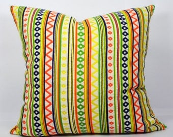 Geometric jaquard decorative cushion geometric pillow cover 18x18 yellow orange green outdoor pillow multi color throw pillows summer pillow