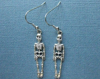 Skeleton Earrings - Dangle Earrings - Halloween Earrings - Halloween Jewelry - Earrings - Skeleton - Holiday Earrings -- E120