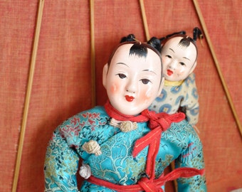 DISCOUNTED! Antique Chinese Composition Dolls -- Mother & Baby in Vintage Oriental Pajamas / Asian Pyjamas
