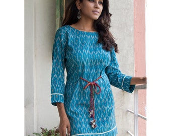 Ikkat Shift Dress - Turquoise