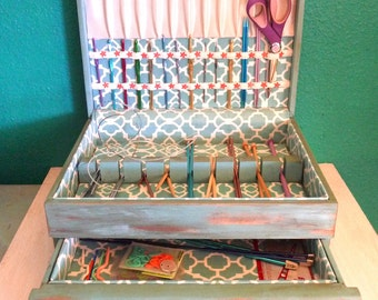 Craft Organizer Notions Box for Storing Knitting Needles Crochet Hooks Sewing, Scissors, and More!