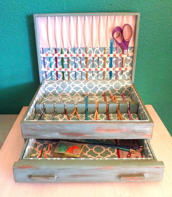 Knitting Notions Organizer : Craft organizer notions box for storing by mishellsdesigns