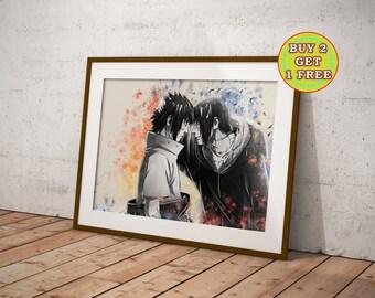 Itachi and Sasuke , Anime, Naruto Poster, Naruto Gifts, Naruto Shippuuden, Anime Poster, Anime Prints,Uchiha,Sharingan, Rinnegan,OC-403