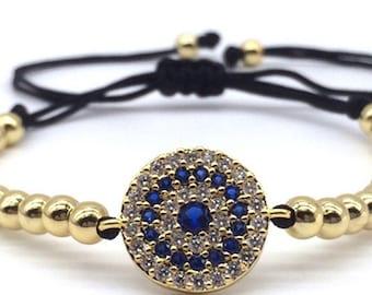 Round Bead & Micro Pave CZ Evil Eye Macrame Bracelet
