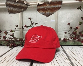 PLANET Baseball Hat Low Profile Embroidered Baseball Caps Dad Hats Red