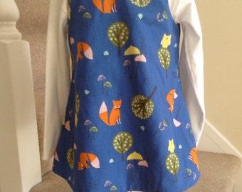 Fox and Owl Woodland Pinafore dress, Fox dress, owl dress, Fox and Owl dress, Fox and Owl pinafore, Blue Woodland dress, woodland animals