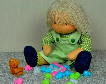 Textile Waldorf doll Max 34 sm, hand made puppe hand made doll soft doll Steiner doll waldorfpuppe rag doll