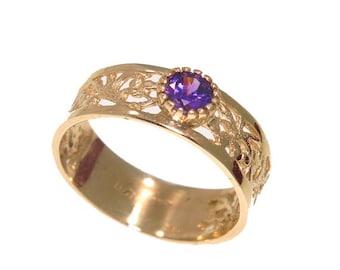 vintage gold ring, vintage ring, purple ring, 14k Gold ring, 14k Gold Ring, simple Gold Ring, gift for her, purple cubic zirconia, 14k ring