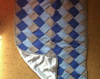 Handmade Entrelac Baby Blanket in blue and grey. Fully lined.