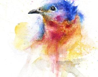 Original Painting, Bird, Painting, Original Watercolor Painting, Color bird, Boba painting