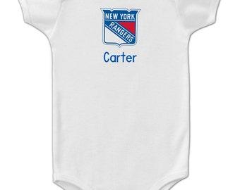 Personalized New York Rangers Baby Onesie