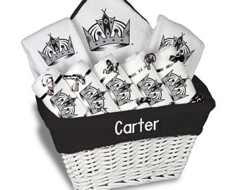 La kings baby shower etsy personalized los angeles kings baby gift basket 2 bibs 5 burp cloths towel negle Choice Image