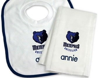 Personalized Memphis Grizzlies Baby Bib & Burp Cloth Gift Set