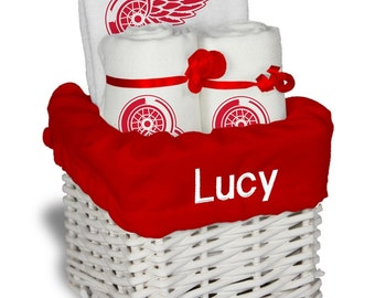 Personalized winnipeg jets infant robe personalized detroit red wings baby gift basket bib 2 burp cloths small negle Images