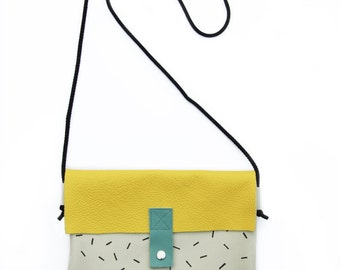 Confetti bag - Leather shoulder bag or clutch, hand painted