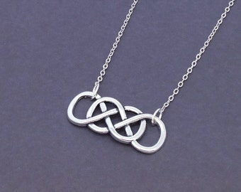 Antique Silver Double Infinity Necklace Revenge Charm Pendant Mother's Day Gift Best Friend Jewelry Silver Plated Chain