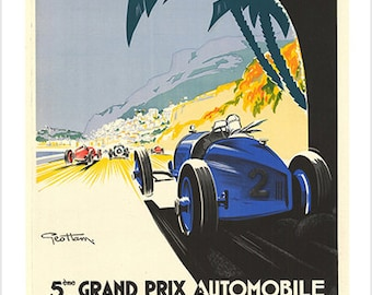 Racing Car Grand Prix Monaco 1933 Vintage Ad Poster Classic Sporty 24x36