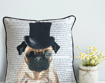 Pug cushion cover - Pug pillow cover - Formal Hat & Hound - throw pillow Pug gift dog pillow pug decor dog lover gift pug lover dog cushion