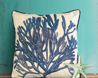 Coral Pillow Cover - With Seaweed - Nautical Pillow Nautical Decor blue coral Decor Beach House Decor Coastal Living Coastal Decor