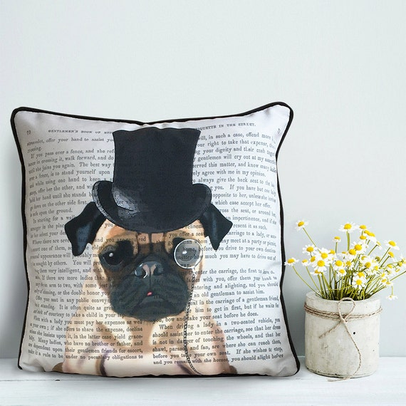 Pug cushion cover Pug pillow cover Formal Hat & Hound