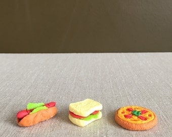 50% OFF CLEARANCE SALE - 3pcs Cute Food Erasers - Kawaii Food Erasers - Hotdog - Sandwich - Pizza (was 3.50)