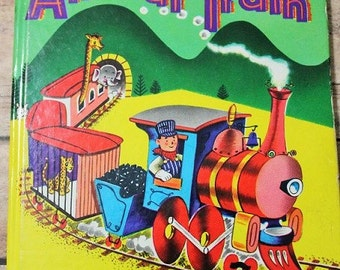 Animal Train-Vintage Children's book-1952-Children's room decor-Train kids book-Whitman Tell a tale book