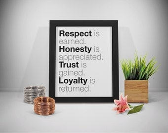 Respect Quote Printable, Honesty Quotes Prints, Trust Quotes Art, Loyalty Quote Printable, Inspirational Quotes, Business Motivational Quote