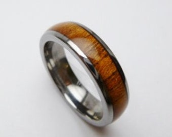 Kalani Flat Tungsten Koa wood ring