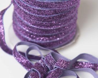 3/8 Purple glitter Elastic, glitter foe sparkle elastic by the yard, fold over elastic, foldover elastic glitter headband, wholesale elastic