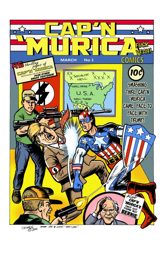 Cap'n 'Murica punches Donald Trump comic book cover print! (An homage to Captain America #1)
