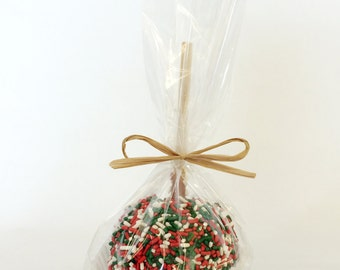 PRE-ORDER ONLY for Shipping Oct-Dec Events: Christmas Sprinkle Caramel Apple Wedding Favors (Ships to Select States Only)