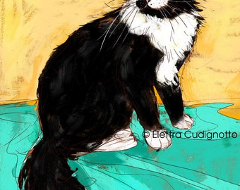 custom cat portrait illustration - digital art commission from your photo - cat memorial - colorful drawing - downlodable gift