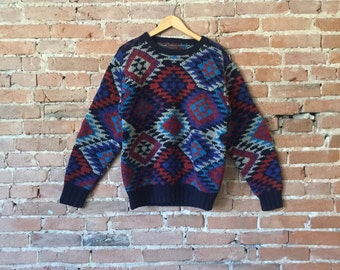 Vintage Patterned Argyle Sweater