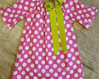 Pink Polkadot Peasant Dress